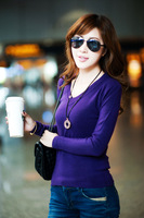 2011 women's all-match long-sleeve jixin ling V-neck basic sweater