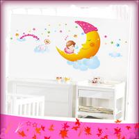 Free Shipping Big Moon Cartoon Child Bedroom Wall Stickers Sleeping Baby Girl Wall Stickers