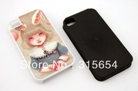 2 in 1 4S DIY Sublimation Blank Phone Case honeycomb silicone inside for iPhone 4 4G 4S,100pcs/lot