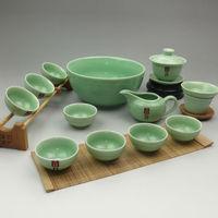 2014 New Arrival 12pcs nice and simple glazed porcelain kungfu tea set, Chinese famous celadon tea wares