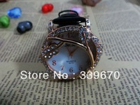 New 2013 women rhinestone watches fashion leather strap watches for ladies wholesale 100pcs free shipping