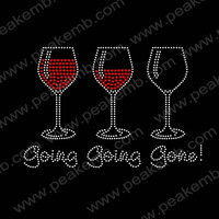 Free Shipping 50Pcs/Lot Going Going Gone Hot Fix Wine Rhinestones Designs Strass Motif Iron On Appliques