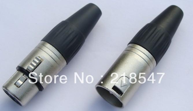 15PAIRS(30PCS)/High Quality 3 Pin XLR Connectors 15 PCS Female & 15 PCS Male Jack Adapter Plugs Black/-1-5(China (Mainland))