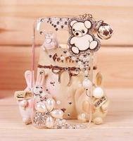 2pcs 3D Flower Cartoon Tassel Wood Pendant Bear Bling Diamond Case For Samsung Galaxy S4 I9500 Cover