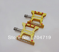 NEW CNC Titanium Axle Spindle Mountain Bike pedals bearing bicycle pedal gold, free shipping