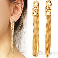 Retro Women Long Chunky Chain Drop Earrings Fancy Dress Golden Tassel Chain Ear 00DU