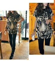 WOMEN TIGER HEAD CREW NECK SHORT SLEEVE LOOSE T-SHIRT GWF-6120