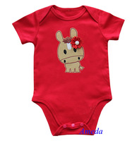 Baby Girls Year of Horse Red Short Sleeves Onesie NB-12M