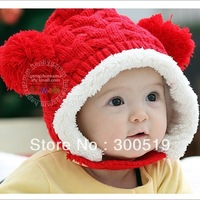 BB011 Fashion Korean Baby Hats Cute Dual Balls Caps Boys Girls Extra Knitted Woolen Winter Kids Caps