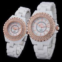Couples watch men and ladies watches bracelet for women men  rhinestone quartz watches Reloj blanco de ceramica de cuarzo 8731A