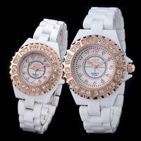 Couples wristwatch men and ladies  rhinestone bracelet watch for lover Valentine's Day  Reloj blanco de ceramica de cuarzo 8729A