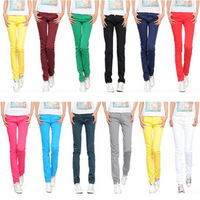 Woman Tight Pencil Jeans Straight Pants Leopard Patchwork Jeans Women Trousers Candy Skinny Pants