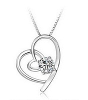 NEW 2013 Fashion Brand Vintage Jewelry Sterling Silver with Swiss Zircon Heart Pendant Necklace N046,Free Shipping
