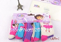 Free shipping kids girls dora socks 20 pairs/lot mixed color cotton socks