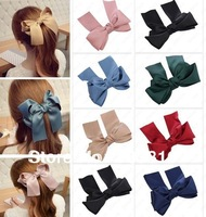 10X Large Big Satin Hair Bow With Long Tassel French Hair Clip Boutique Ribbon Bows