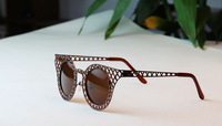 Free Shipping Hot Sale 2013 New Fashion Black Round Women Sunglasses Brands Leopard Vintage Ladies Sunglasses Brand