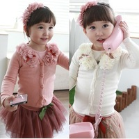Children clothing wholesale 2013 spring and autumn new girl's buckle cardigan top long-sleeve outerwear Free shipping