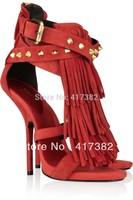 women Shoes Fashion Designers Brand Women Party High Heels Tassel GZ Classic Elements Sandals Rivet Women Shoes