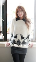 Korean version of the new winter 2013 women's loose long-haired fawn mohair knit pullover sweater ladies