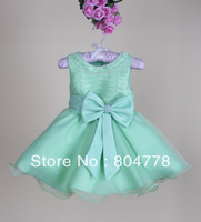 new fashion flower child's dress geogous flower girl evening dress big bow pearl students party dress 6pcs/lot