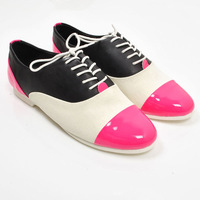 Spring genuine leather flat lacing color block decoration female shoes