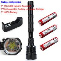 TrustFire 3T6 3800 lumens flashlight 3 x CREE XM-L 5-Mode 3 * Cree LED Flashlight  Lamp + 3* 18650 battery+1*charger
