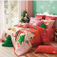 Christmas bedding set king size hot sale bed sheet/bed cover/comforter set queen