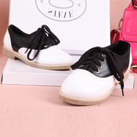 Autumn first layer of cowhide jc color block decoration british style lacing genuine leather flat female shoes