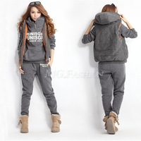 3PCS Womens Autumn Casual Sports Hoodies Top + Vest + Pants Sweat Suit Tracksuit[04040187]