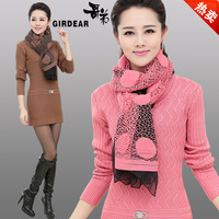 2013 women's medium-long cashmere sweater slim all-match basic sweater dress sweater knitted scarf