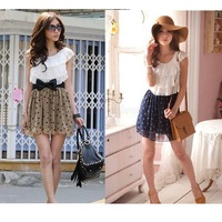 New 2013 Women's Summer Fashion Cute Lace Chiffon Mini Dress Ladies Trendy Sleeveless Polka Dot Print Short Dresses SA42