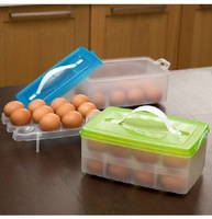 New Portable Plastic Egg Carton Storage Box/Container/Carrier/Holder Case two layer can put 24 eggs