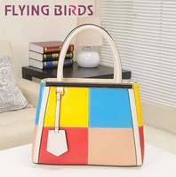 FLYING BIRDS! FREE SHIPING pu leather Mixing color fashion leisure handbag Messenger Bag LS0418