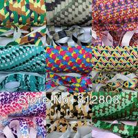10 PCS/ LOT Camo Printed Fold Over Elastic - U PICK COLORS - Shiny for elastic Headbands