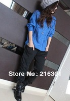 2013 new women's autumn and winter retro twist loose bat sleeve round neck pullover new fall sweater pocket