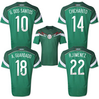 2014 World cup Mexico Chicharito dos Santo Guardado Grade Original thailand quality soccer jersey soccer shirt  football jersey