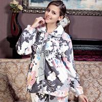 American standard lounge women's thermal coral fleece print long-sleeve 36543 sleep set