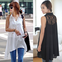 Free Shipping Fashion M-XXL Pink White Black Long Style Lace Shirts Sleevesless Tank Women's Shirts 199773