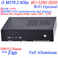 games htpc HD mini desktop computer 8G RAM 320G HDD with I3 M370 2.4Ghz 3MB three cache TDP 35W Intel Core HD Graphic WIN 7 XP