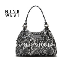 Fashion European style  women snakeskin pattern handbag shoulder bag Big Size hangbag High Quality Free Shipping