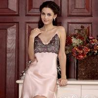 Ansi female 2013 summer lounge pure silk sleepwear sexy spaghetti strap lace nightgown 020002