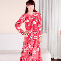Autumn and winter sleepwear flannel fleece antarctic coral velvet cartoon ultra long nightgown lounge