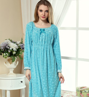 Spring and autumn super soft coral fleece sleepwear nightgown ultra long women's plus size lace princess long-sleeve lounge
