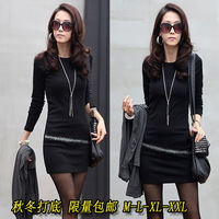 new 2013 slim ol elegant plus size clothing tight-fitting slim hip long-sleeve basic one-piece dress autumn and winter
