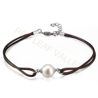 Natural Freshwater Pearl Bracelet With Leather Chain Free Shipping Hot Sale Women Bracelet Promotion