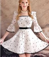 New Girls' A-Line Three Quarter Sleeve Dress Square Collar Slim Cute fashion woman's Mini Lace Dress Chiffon high quality  S M L