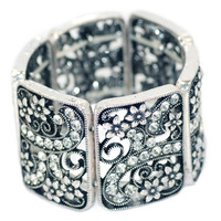 2014 fashion accessories latest concept/design exclusive provide vintage retro openwork flower stretch Bangle Bracelet