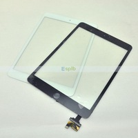 100% Tested Black/White Touch Screen Digitizer with IC Connector & Home Flex Assembly for iPad Mini by DHL,10pcs/Lot