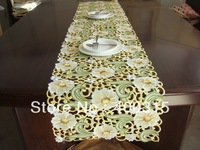brand new designercheap hollow white yellow home decor floral white christmas embroidered table cloths table runners for wedding
