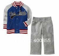 ZZG1311276 100%Cotton letter parttern Boys and girl sport suit,kid's cotton sweater sets,zipper jacket+soft pants clothes sets